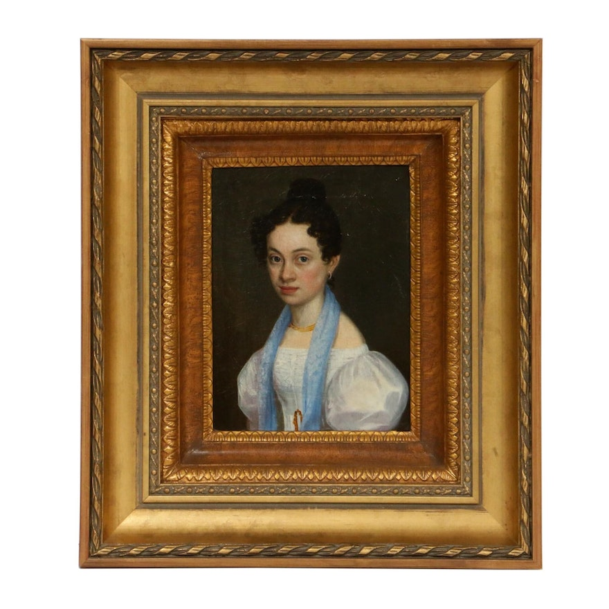 Oil Portrait of Woman in Blue Scarf, Mid 19th Century