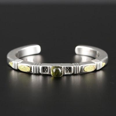 Jennifer Curtis Navajo Diné Sterling Silver Tourmaline and Gaspeite Bracelet