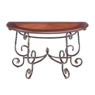 Demi-Lune Wrought Metal and Mahogany Console Table, Contemporary