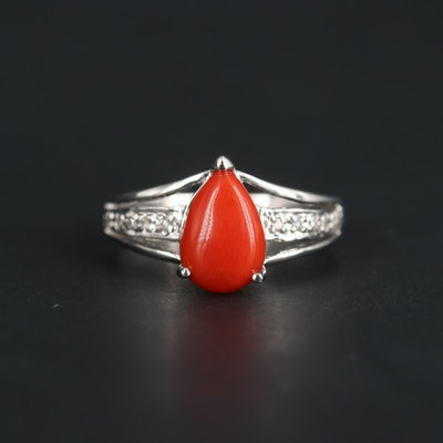 14K White Gold Coral and Diamond Ring