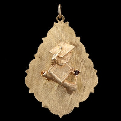14K Yellow Gold Glass Cap and Gown Pendant