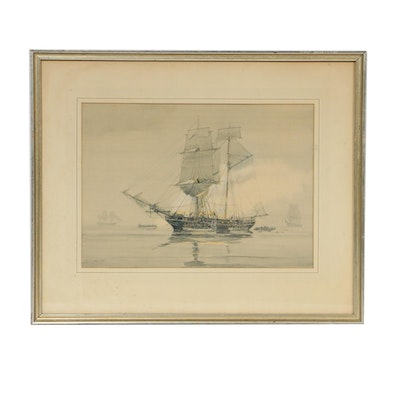 George Canning Wales Marine Watercolor Painting, 1935
