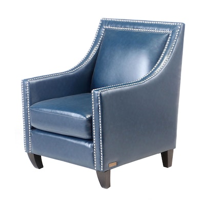 Abbyson Blue Faux Leather Upholstered Lounge Chair, Contemporary