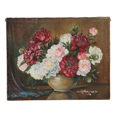 Aice Schmidt Floral Still Life Oil Painting, 1923