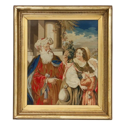 "Needlepoint After Guercino ""Abraham Casting Out Hagar and Ishmael"""