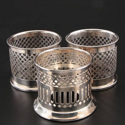 Wilcox and Other Sterling Silver Reticulated Silver Plate Condiment Holders