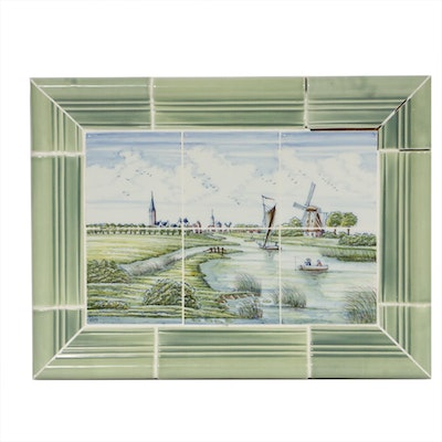 Signed Delft Style Polychrome Tile Mural Depicting Dutch Canal Scene