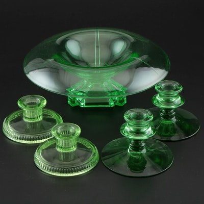 Art Deco Uranium Glass Footed Console Bowl with Candle Holders, 1930's