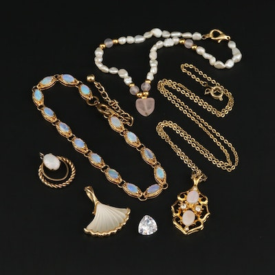 Assorted Jewelry and Loose Cubic Zirconia Gemstone