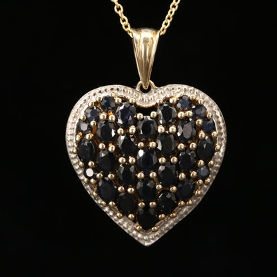 Sterling Silver Blue Sapphire Heart Pendant Necklace