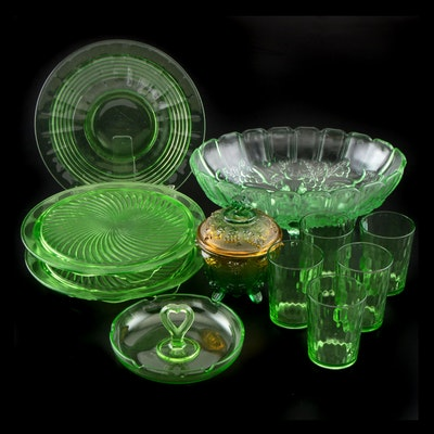 Vaseline and Depression Glass Tableware