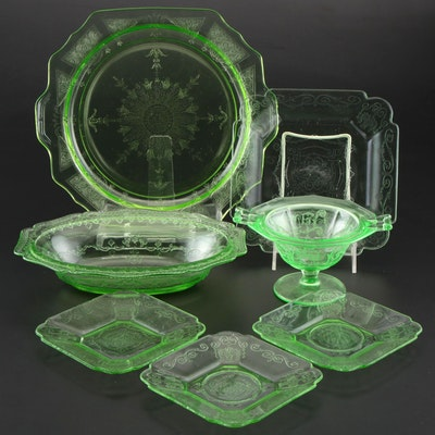 "Lorain ""Basket"" and ""Princess Hocking"" Depression and Uranium Glass Tableware"