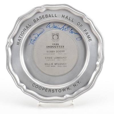 Willie McCovey and Bobby Doerr Signed 1986 Hall of Fame Induction Pewter Plate