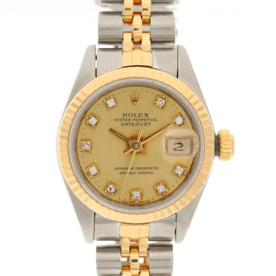 Rolex Datejust 18K Gold and Stainless Steel Wristwatch with Diamond Dial