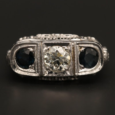 Vintage Art Deco 18K and 14K White Gold Sapphire and Diamond Ring