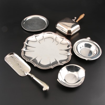Stieff Pewter Tray and Silver Plate Serveware