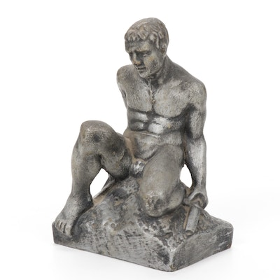 Composite Seated Male Nude Sculpture, Late 20th Century