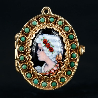 14K Yellow Gold Turquoise and Enamel Locket with French Portrait