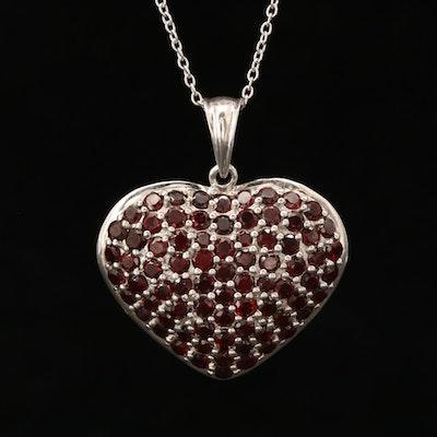 Sterling Silver Garnet Cluster Heart Pendant Necklace
