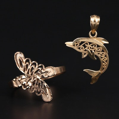 10K Yellow Gold Bypass Ring and Dolphin Pendant