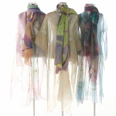 Julia Hill Painted Sheer Long Jackets and Kaftan with Other Wraps