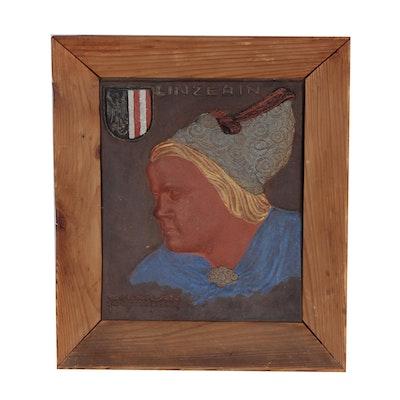 "Austrian Portrait Ceramic Relief Tile ""Linzerin"""