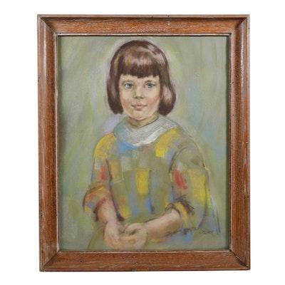 Beverly Erschell Pastel Portrait of Girl, Late 20th Century