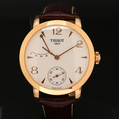 Tissot Sculpture Line Power Reserve 18K Rose Gold Stem Wind Wristwatch