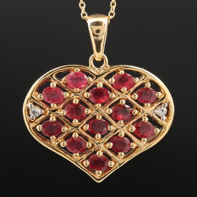 Sterling Silver Ruby and White Topaz Heart Pendant Necklace