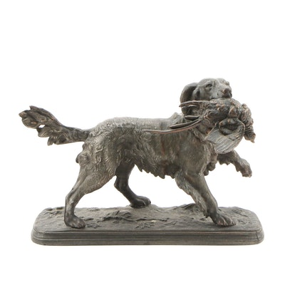 Cast Metal Hunting Dog with Fowl Statuette