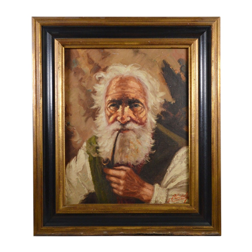 Emani Pluderi Man Smoking Pipe Oil Painting