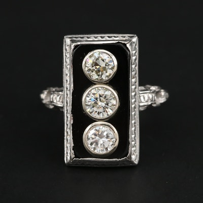 Art Deco 14K White Gold 1.12 CTW Diamond Ring