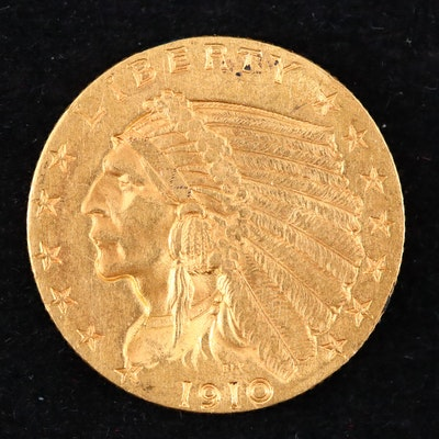 1910 Indian Head $2.50 Quarter Eagle Gold Coin