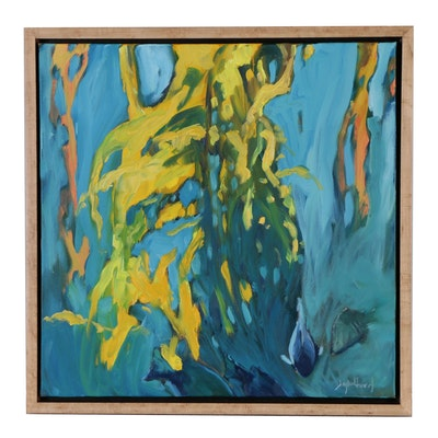 "Jay Wilford Oil Painting of Underwater Scene ""Kelp Forest"""