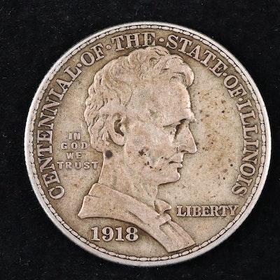 1918 Illinois Centennial Lincoln Commemorative Silver Half Dollar