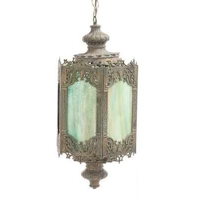 Gothic Revival Style Lantern with Slag Glass Panels