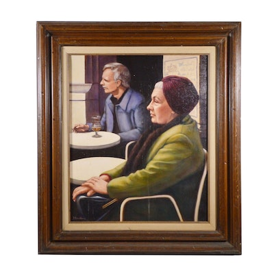 "Gene Hinckley Oil Painting ""Brussels Matron"", Late 20th Century"