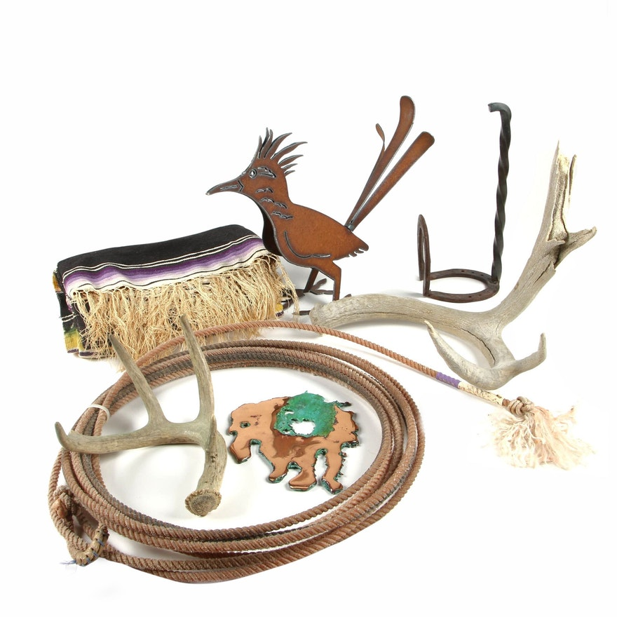 Southwestern Style Home Décor Including Antlers, Blanket and More