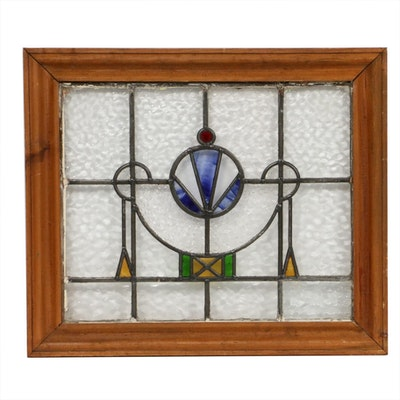 Leaded Stained Glass Window in Wooden Frame