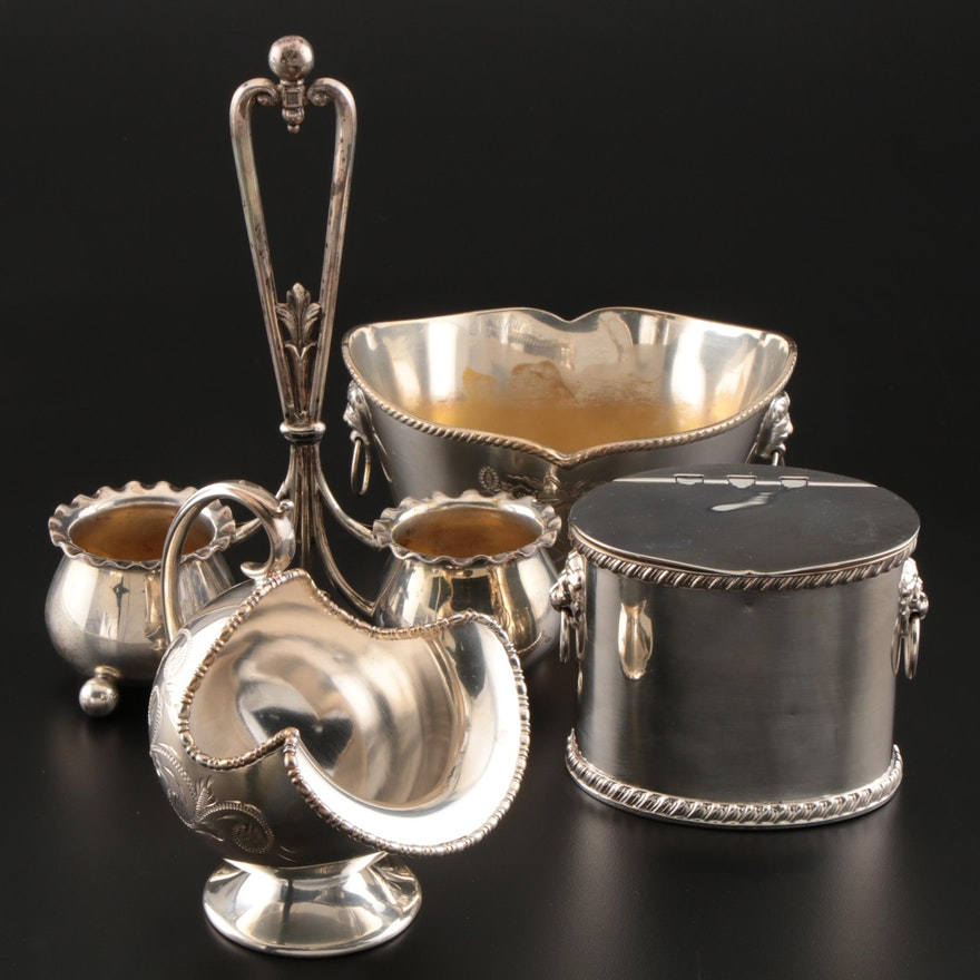 Wilhelm Binder 800 Silver Condiment Holder with Silver Plate Tea Caddy and More