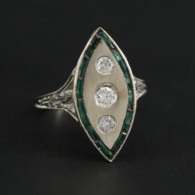 Edwardian 18K White Gold Diamond and Green Glass Ring
