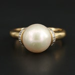18K Yellow Gold Cultured Pearl and Diamond Ring