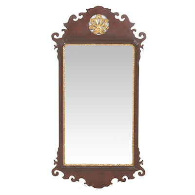 Williamsburg Reproduction Chippendale Style Mahogany Framed Beveled Mirror