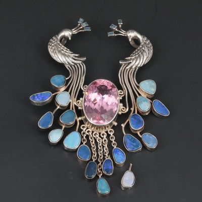 Soms Sterling Silver Glass, Opal Doublet and Spinel Peacock Pendant