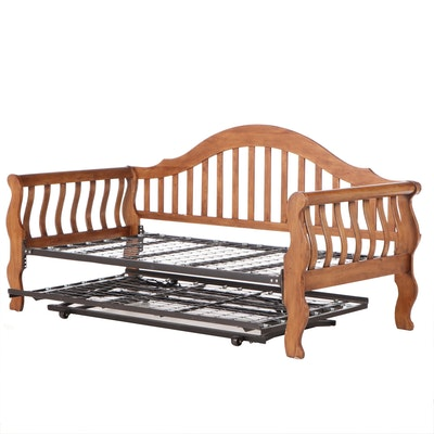 Twin Sized Walnut Sleigh Day Bed with Trundle, Contemporary