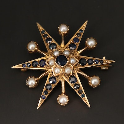Vintage 9K Yellow Gold Sapphire and Cultured Pearl Star Brooch