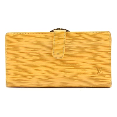 Louis Vuitton Tassil Yellow Epi Leather French Continental Purse Wallet