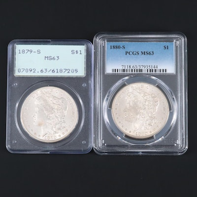 Two PCGS Graded MS63 Silver Morgan Dollars Including an 1879-S