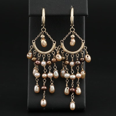 14K Yellow Gold Cultured Pearl Chandelier Huggie Earrings