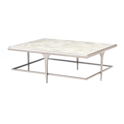 Glass Top and Metal Coffee Table, Contemporary